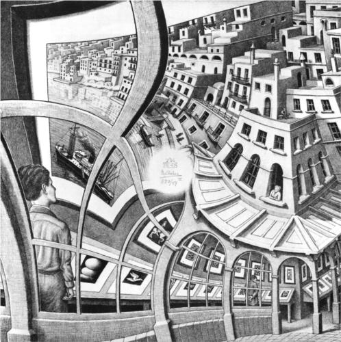 Houses-and-buildings, by M.C. Escher, 1956