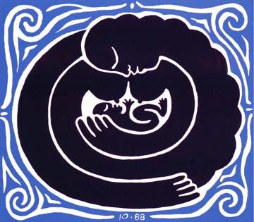 Mother-Child-by Durga Brnhard: o cérebro soluciona o problema de entender que a espiral representa mãe e filho.