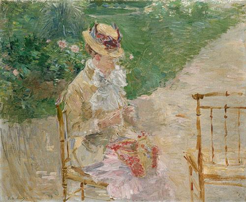 Young Woman Knitting, by Berthe Morisot- nesta obra impressionista, o cérebro reconhece a imagem da mulher, embora a mesma seja mais insinuada que revelada em seus detalhes.