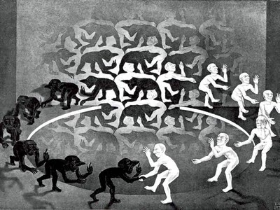 Encounter, by M. C. Escher