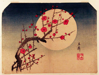 amendoeira em flor, de hiroshige Utagawa.O minimalismo da arte japonesa como exemplo da lei do isoalmento.