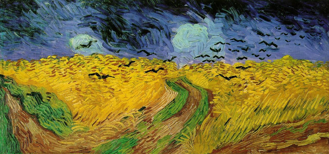 Trigal com corvos-por van Gogh: Um exemplo de deslocamento de pico? Reprodução distorcida da paisagem real, intensificando formas e cores, condensando detalhes e reduzindo as informações visuais, aumentando os contrastes e direcionando o foco de atenção para a percepção da tempestade que se aproxima.