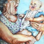 Bebê pòe a vovó para dormir-de Melanie Alcântara Correa-reflexões sobre comunicação não verbal-neurônios espelho e sua importância no desenvolvimento da linguagem.....