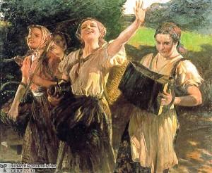 Moças do trabalho- (1940) por Leopold Schmutzler-arte do tinha como objetivo proclamar valores de beleza e de comortamento moral.