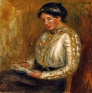 mulher lendo por Auguste Renoir