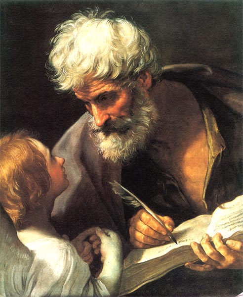 """Imagem arquetípica -""""O Velho Sábio""""-que pode aparecer em sonhos-St Matthew and the Angel by Guido Reni"""
