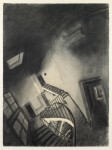 Sam Szafran, Escalier anamorphique charcoal on paper