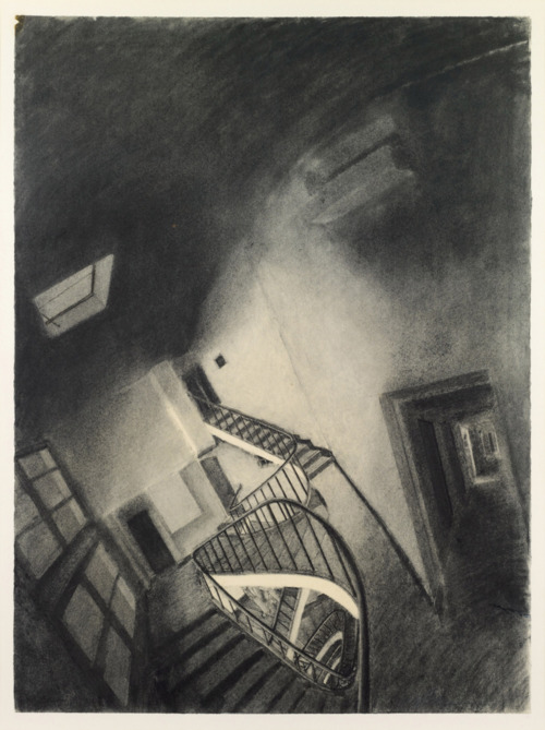 Sam Szafran, Escalier anamorphique charcoal on paper