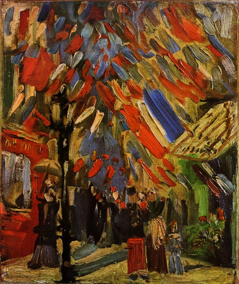Van Gogh, The Fourteenth of July Celebration in Paris, Summer 1886. Oil on canvas, 44 x 39 cm. Museum Villa Flora, Winterthur.