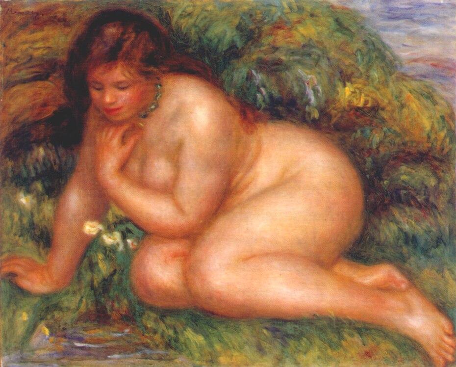 Banhista admirando-se nas águas-por Pierre auguste Renoir