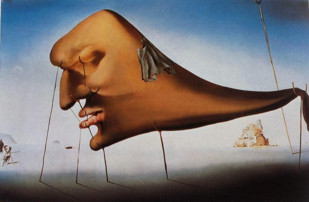 """Figura 3_ """"O Sono"""" de Salvador Dali (1937). O Sono é uma obra de Salvador Dali pintada em 1937. Esse sono que é um verdadeiro monstro """"crisálido"""", cuja morfologia e nostalgia são apoiadas por onze muletas principais. Trata-se de uma representação visual do estado do corpo durante o sono. Segundo a perspectiva surrealista, é durante o sono e o sonho que o ser humano tem o domínio do inconsciente. O equilíbrio delicado da figura indica que, se uma só muleta, das que seguram a cabeça faltar, ela acordará. Isso mostra a fragilidade de algumas etapas do sono."""