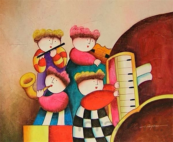 TO-Cartoon-children-playing-piano-Hand-Paint-Painting-Canvas-Home-decor-Vans-of-the-wall-art-home