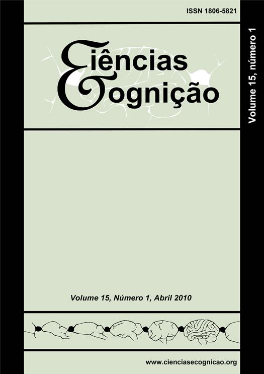Capa do volume 15, fascículo 1, do periódico Ciências e Cognição